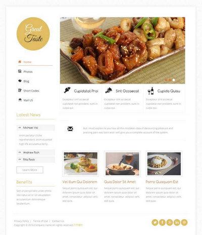 简洁餐饮美食网站静态html模板下