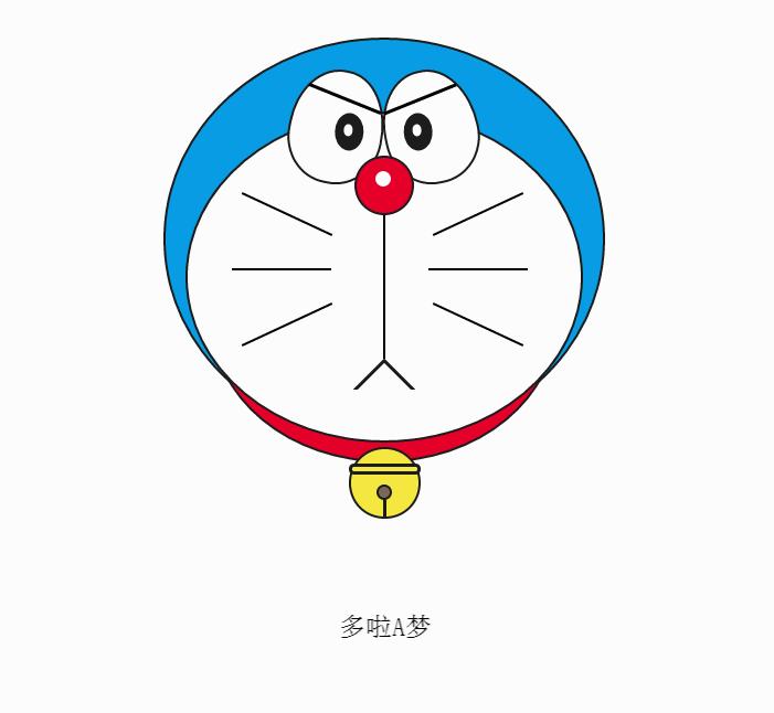 纯css3绘图哆啦a梦机器猫头像特效