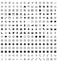 黑色扁平的网页功能小图标集素材