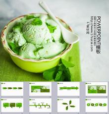 绿色的冰淇淋封面商业营销PPT图表模板下载