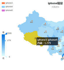 html5 echarts中国地图网络销售分布图表代码
