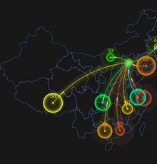 html5 echarts图表插件炫光的分布地图动画特效