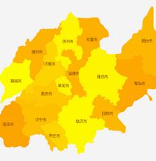 html5 canvas山东省地图分布颜色标记
