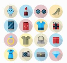 扁平风格时尚生活用品图标大全AI素材