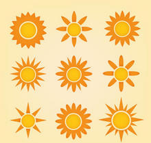 橙色扁平风格的太阳图标大全AI素材
