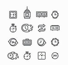 黑色创意的线性时钟图标大全AI素材
