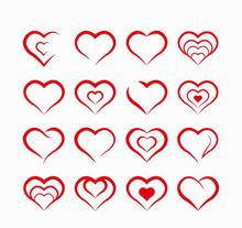 红色扁平的创意爱心图标大全AI素材