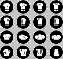 16种扁平风格的厨师帽子图标大全素材