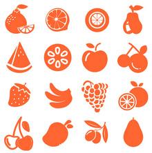 橙色扁平化剪影水果图标集素材下载