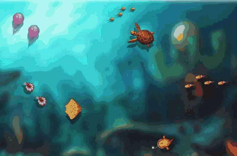 css3卡通海底世界鱼动画场景特效