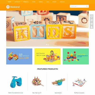 响应式自适应儿童玩具英文外贸类织梦网站模板