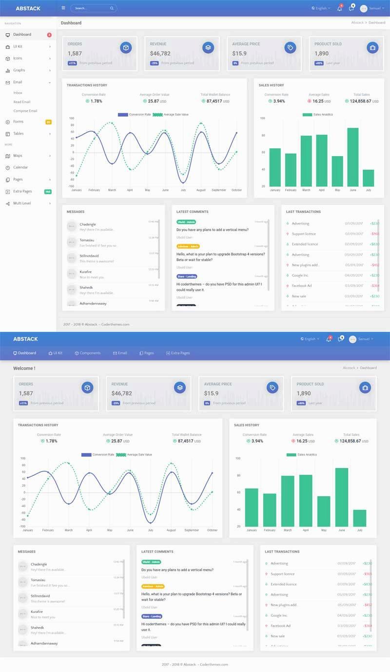 蓝色的商城销售统计系统后台管理界面ui模板