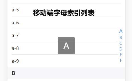 zepto手机端字母索引列表插件