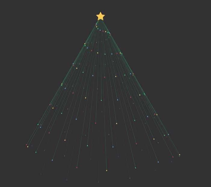 css3绘制发光线条的圣诞树旋转动画特效