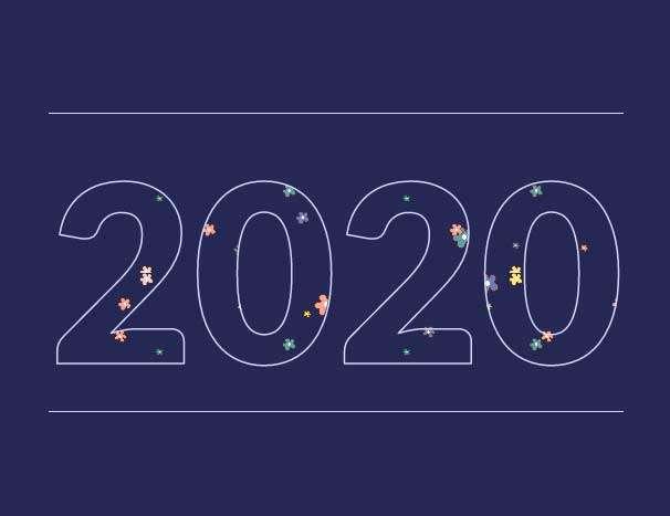 创意的2020数字填充背景动画特效