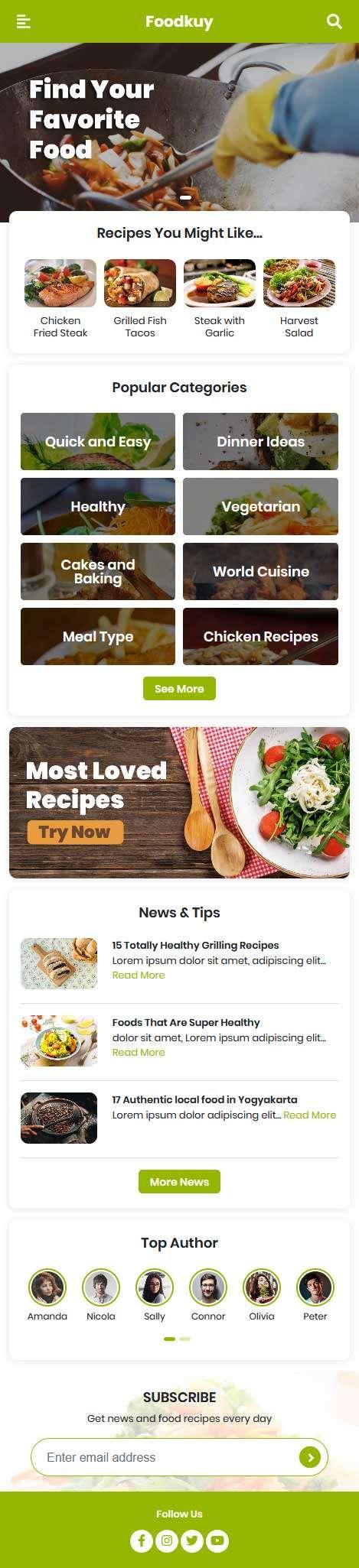 英文美食餐饮平台手机网站模板