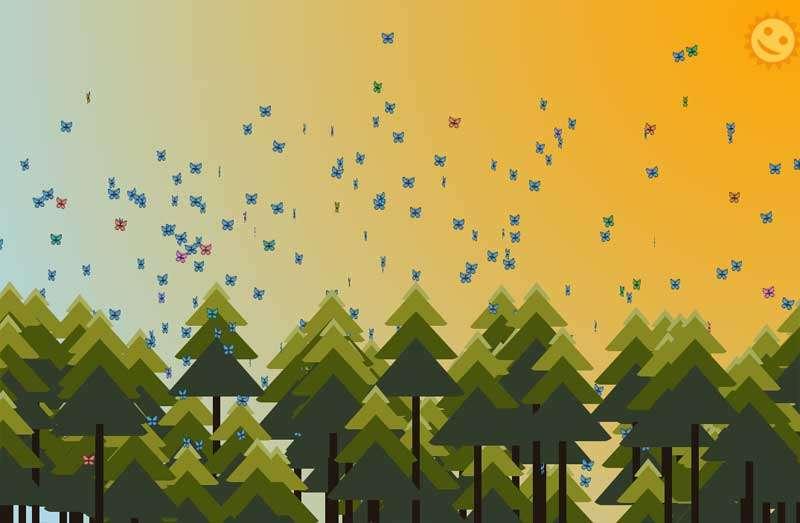 森林里一群蝴蝶动画场景特效