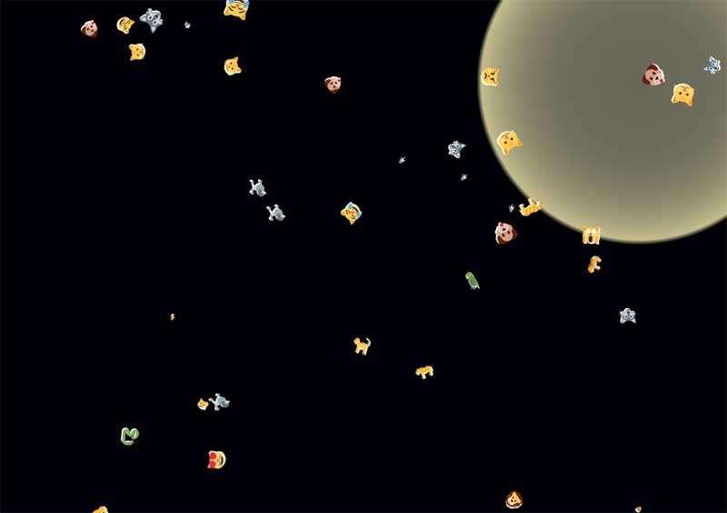 月亮下飘落的宠物图标动画特效