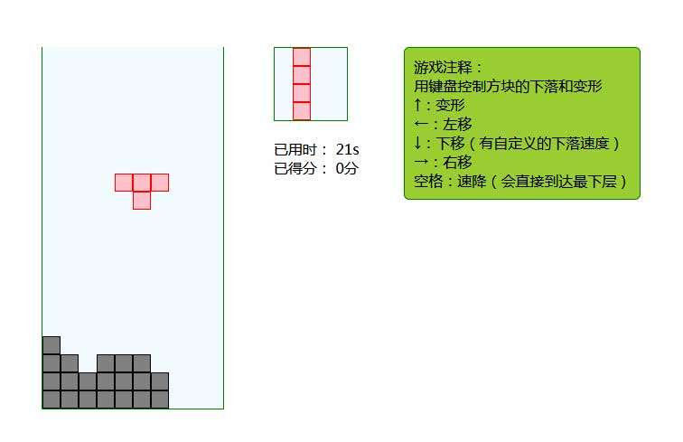 简易的俄罗斯方块游戏代码