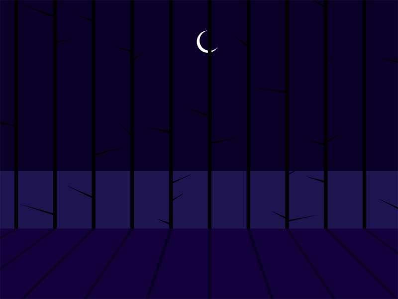 卡通外面的月亮场景特效