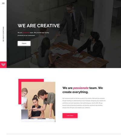英文企业图片案例展示单页模板