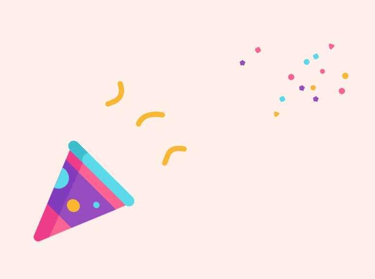 庆祝礼花纸屑css3动画效果
