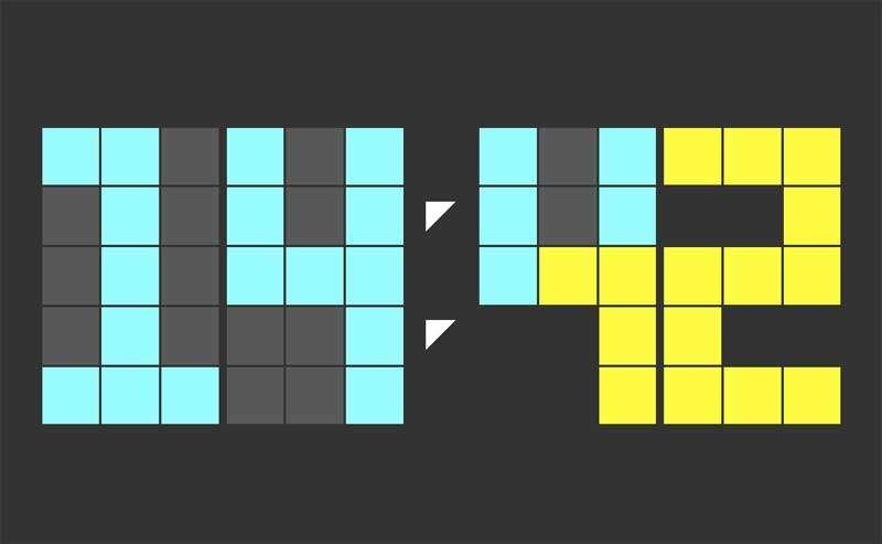 创意的方块时钟UI特效