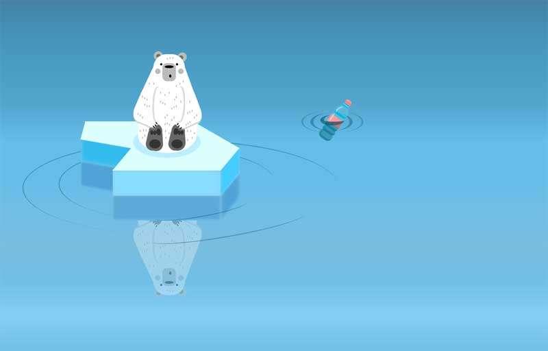 卡通的冰面上北极熊ui特效
