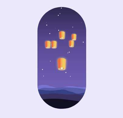 夜空中孔明灯动画特效