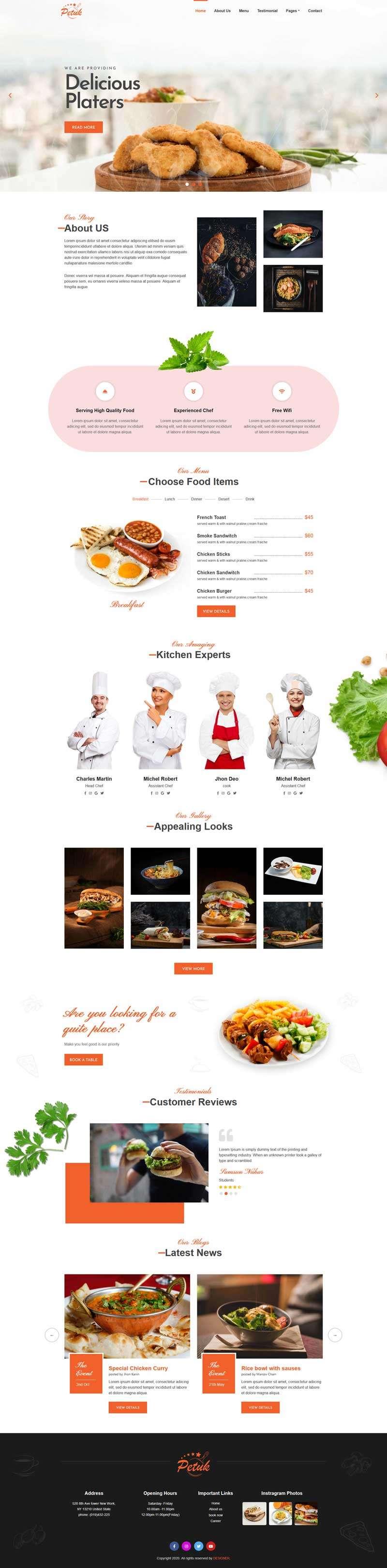 多用途餐饮店铺html5静态模板