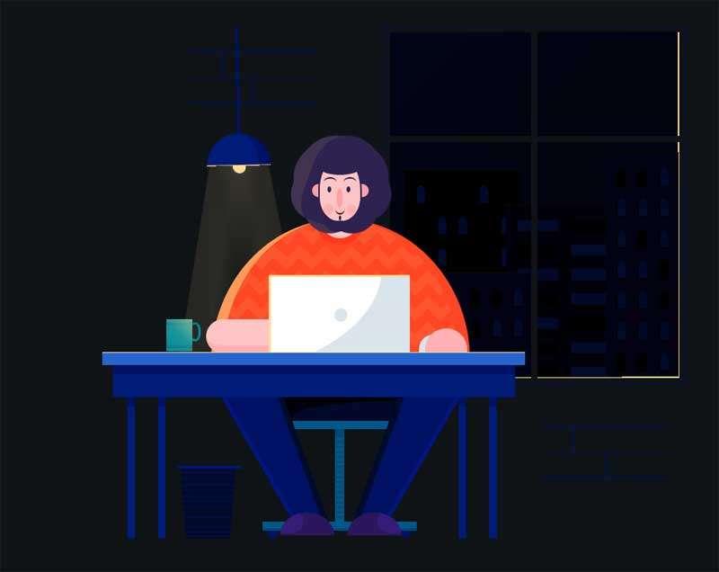 卡通人物加班工作动画特效