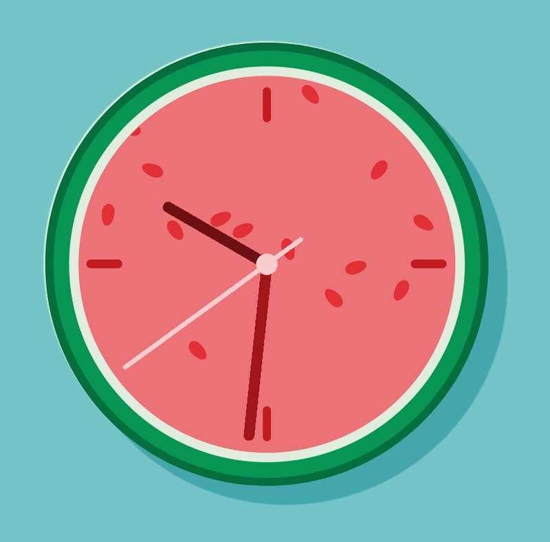 卡通圆形西瓜时钟ui特效