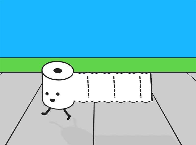 卡通奔跑的卷纸动画特效