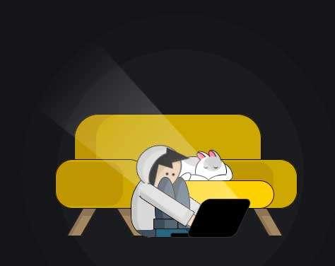 夜里加班工作人物ui动画特效