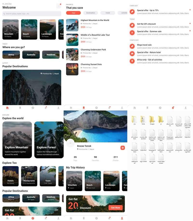 旅游酒店服务app移动端静态模板