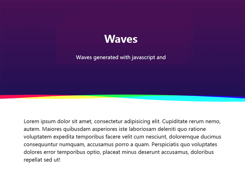 html5 canvas彩色的波浪分割线动画特效