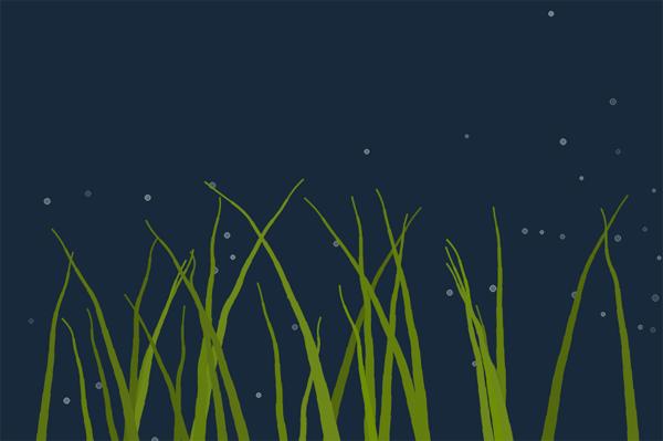 html5 canvas绘制海底海藻动画特效