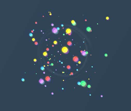 html5 canvas网页点击彩色粒子爆炸动画特效