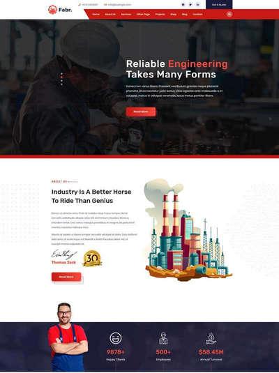 工业生产企业网站HTML静态模板