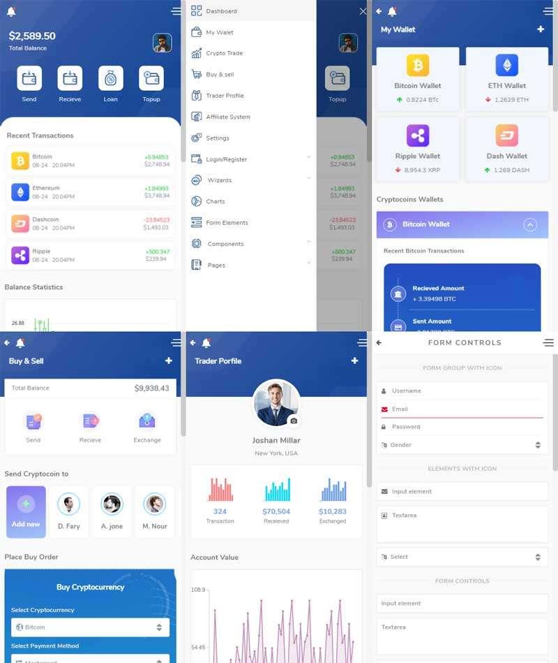 虚拟货币交易app界面模板