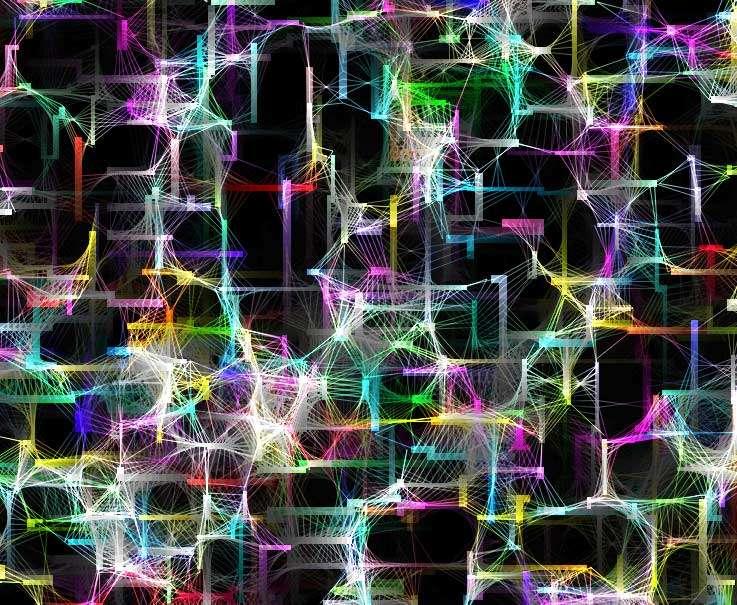 彩色粒子步行�Ccanvas特效