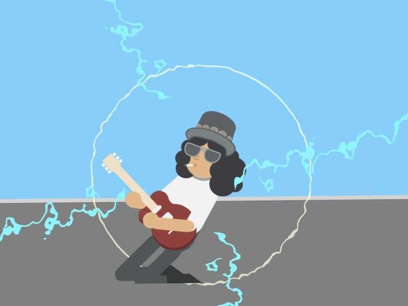 卡通的摇滚音乐人物弹奏svg特效