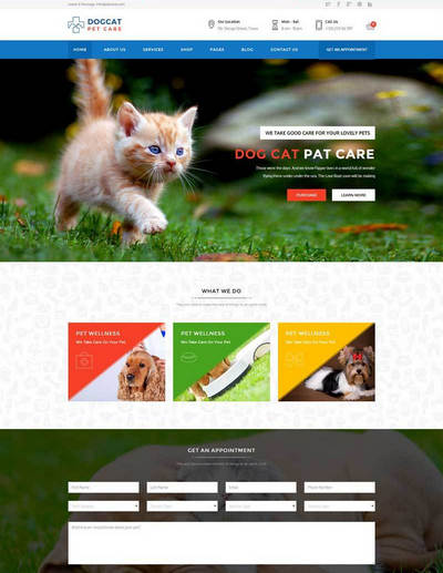 html5蓝色的宠物医院_宠物店网站模板