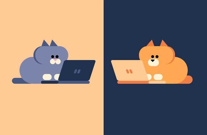 纯css3卡通猫和狗电脑聊天动画特效