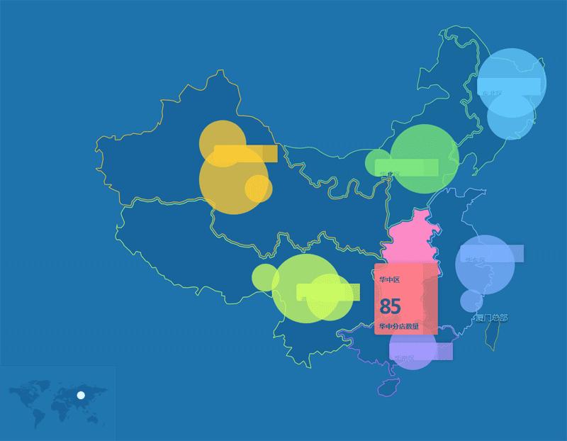 jQuery map中国地图悬停展开分店数量