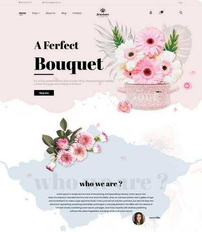 粉色网上鲜花店在线预订商城html5模板