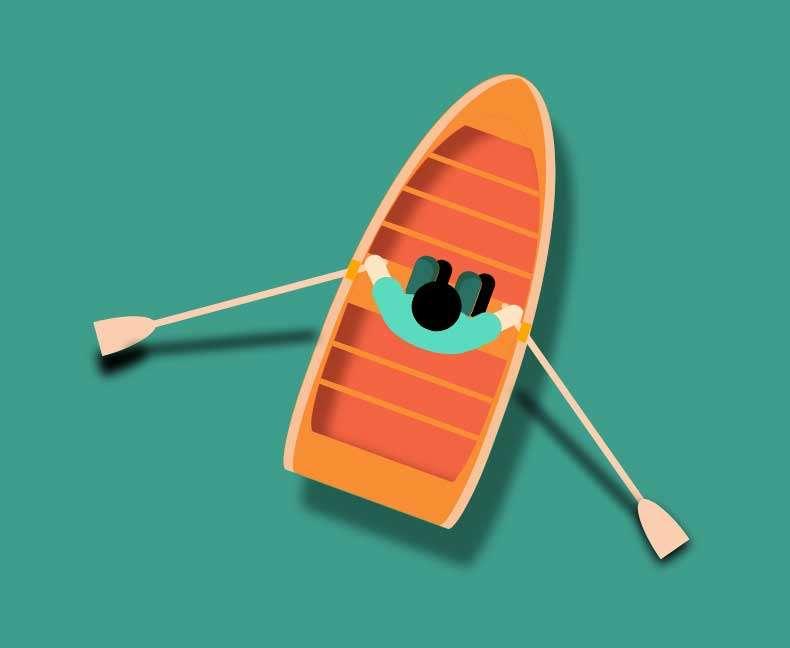 卡通的人物划船ui特效
