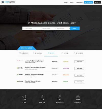 国外大型招聘门户网站模板html整站