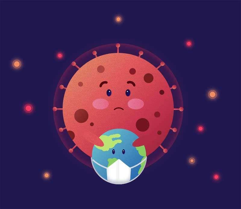 纯css3全球冠状病毒插图特效