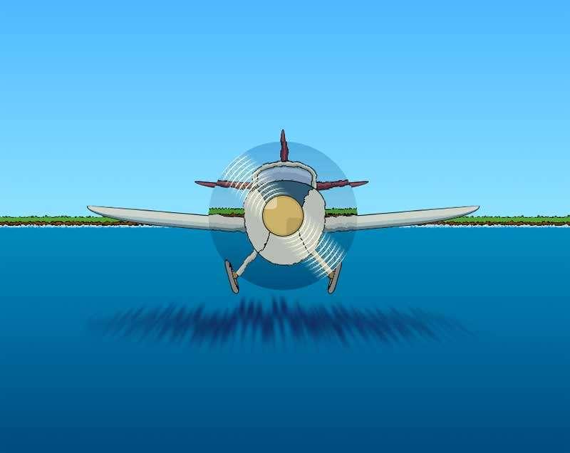 卡通海面上飞机ui特效